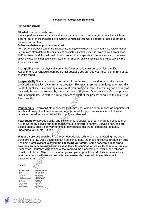 service marketing notes for bba pdf