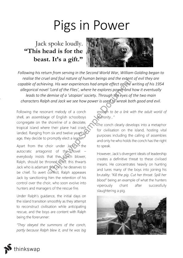 lord of the flies feature article year qce english lord of the flies feature article