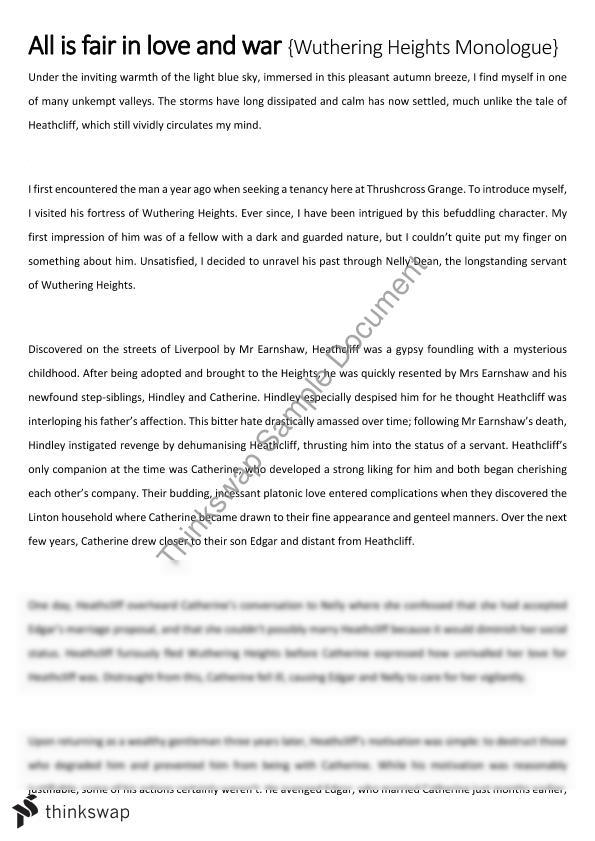 wuthering heights love and revenge essay Wuthering heights - themes word count: 538 approx pages: 2 many themes are portrayed in wuthering heights, such as revenge and the supernatural but love is the most significant as it helps to develop the majority of issues essays related to wuthering heights.