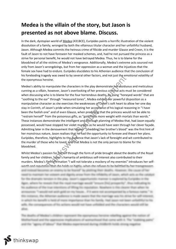 Medea Text Response Essay - Villain and Blame | Year 12 VCE ...