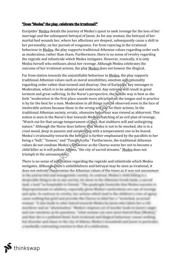 the chorus in the play medea essay Medea and the chorus essays the exchange that takes place between medea and the chorus serves several purposes in euripides.