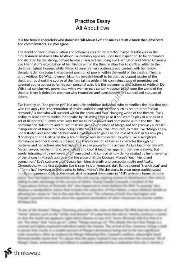 essay on the role of women in all about eve year vce  essay on the role of women in all about eve