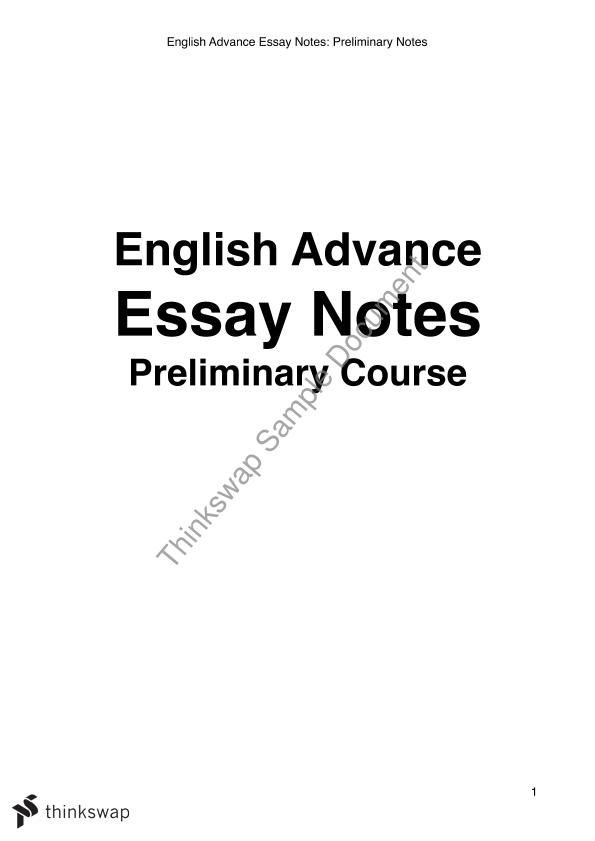 english advance essays  year  hsc  english advanced  thinkswap english advance essays