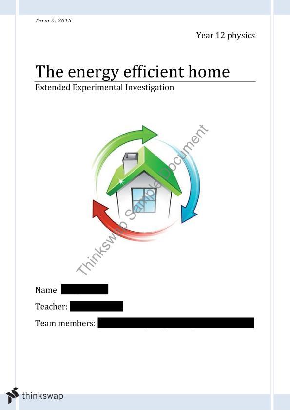 Energy Efficient Home (EEI) | Year 11 QCE - Physics | Thinkswap