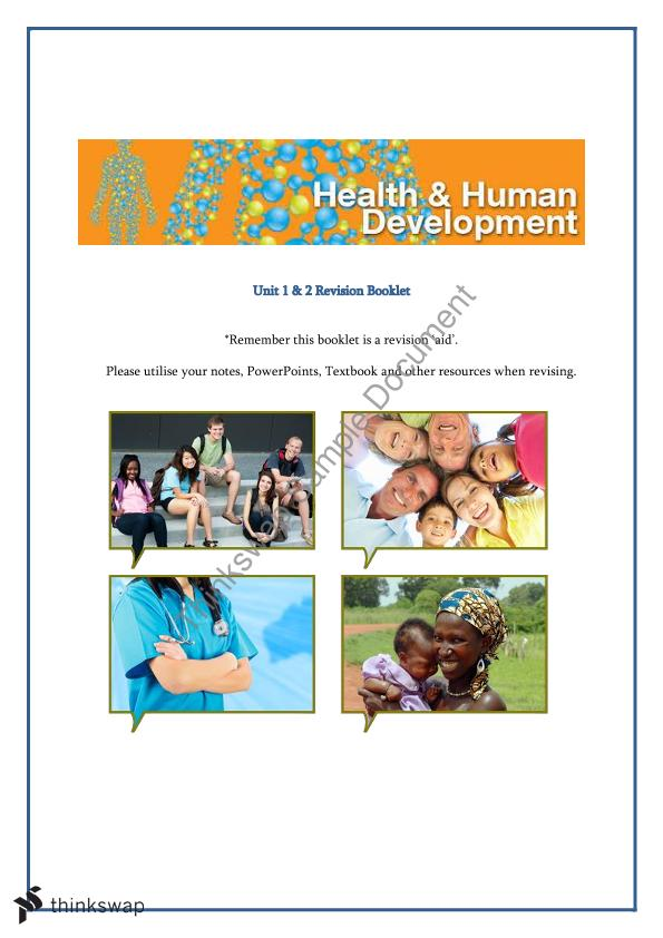 Revision Notes for Units 1 + 2 Health and Human Development