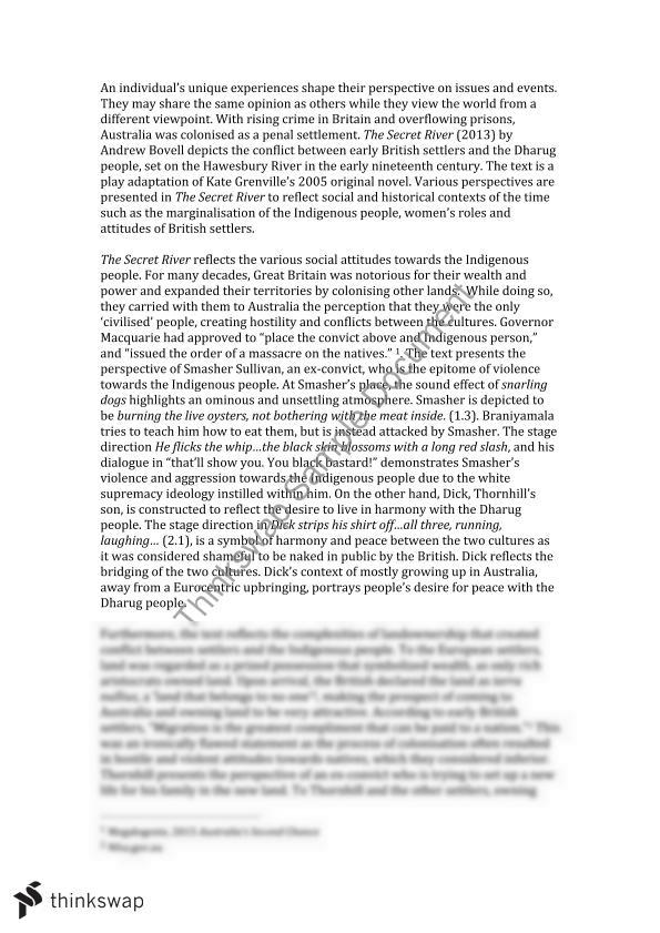 essay on the secret river A lesson that allows group work and collaboration, with hopefully little teacher input ideal for classes revising 'the secret river', this lesson allows students to tackle four different exam questions independently before having whole-class feedback th.