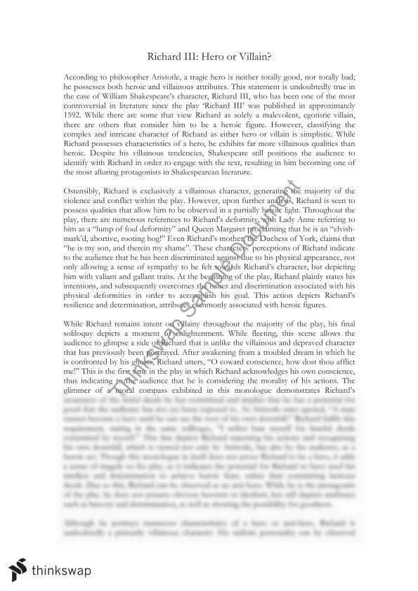 richard iii essay  year  wace   literature  thinkswap richard iii essay