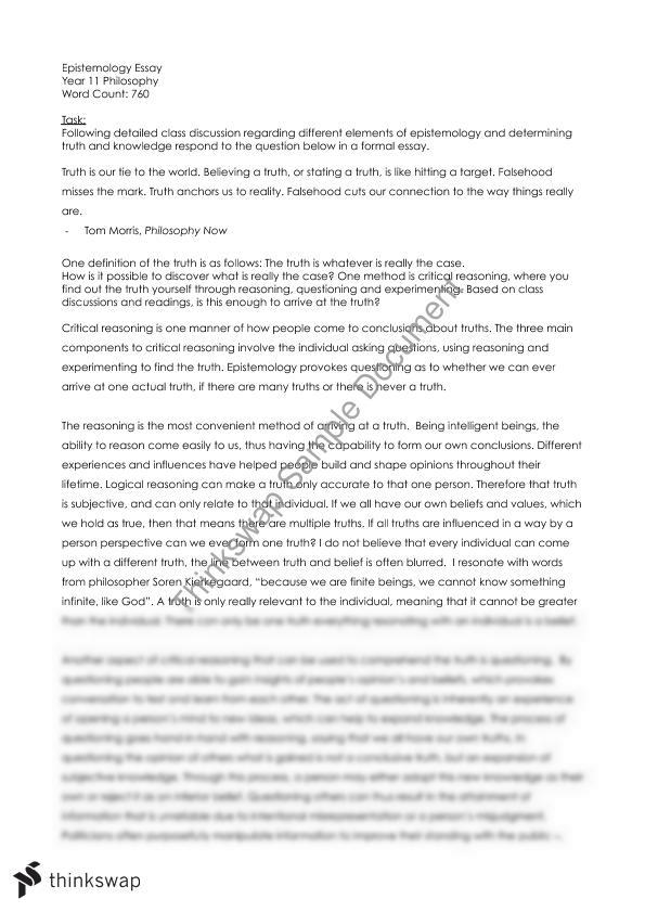 what is truth philosophy essay