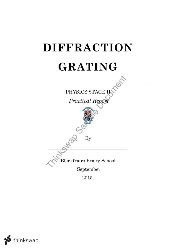 SACE Physics Diffraction Grating Practical Report