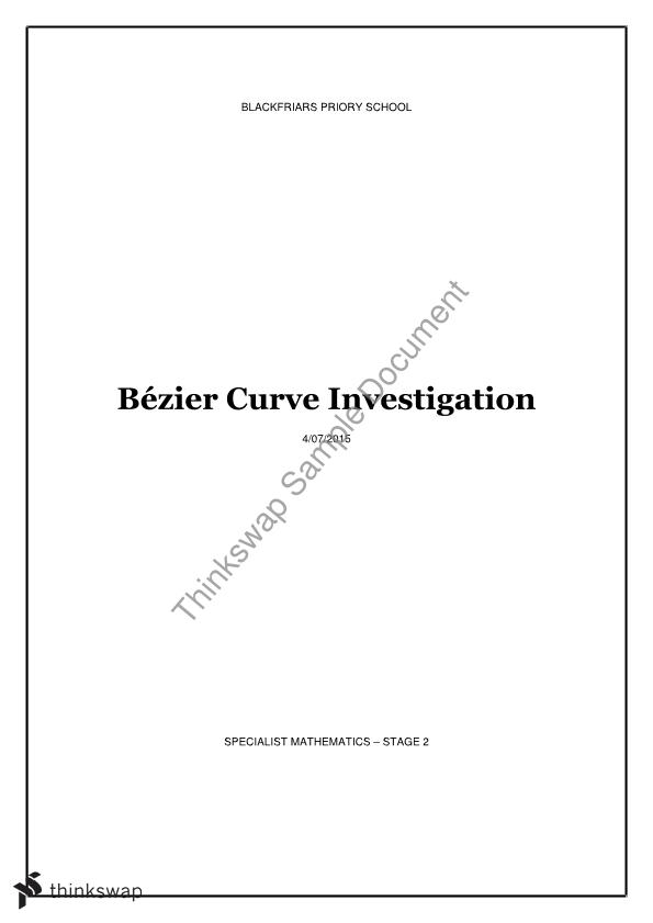 Mathematical Studies - Bezier Curve Folio | Year 12 SACE