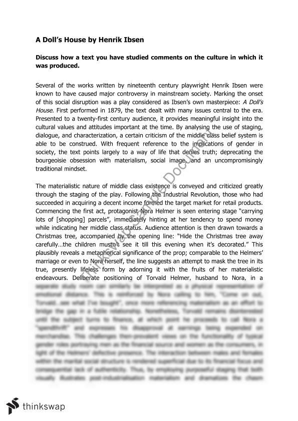 Essay With Thesis Essay A Dolls House Essay About English Class also Essay Good Health Essay A Dolls House  Year  Wace  Literature  Thinkswap How To Write A College Essay Paper