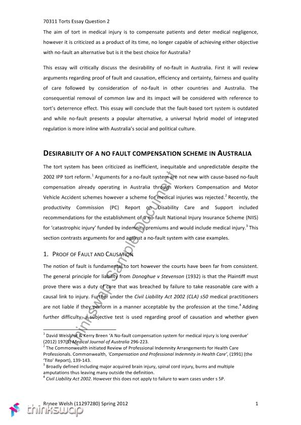 Examples Of Thesis Statements For Narrative Essays Essay Negligence Mental Health Essay also Narrative Essay Example High School Essay Negligence    Torts  Thinkswap Model Essay English