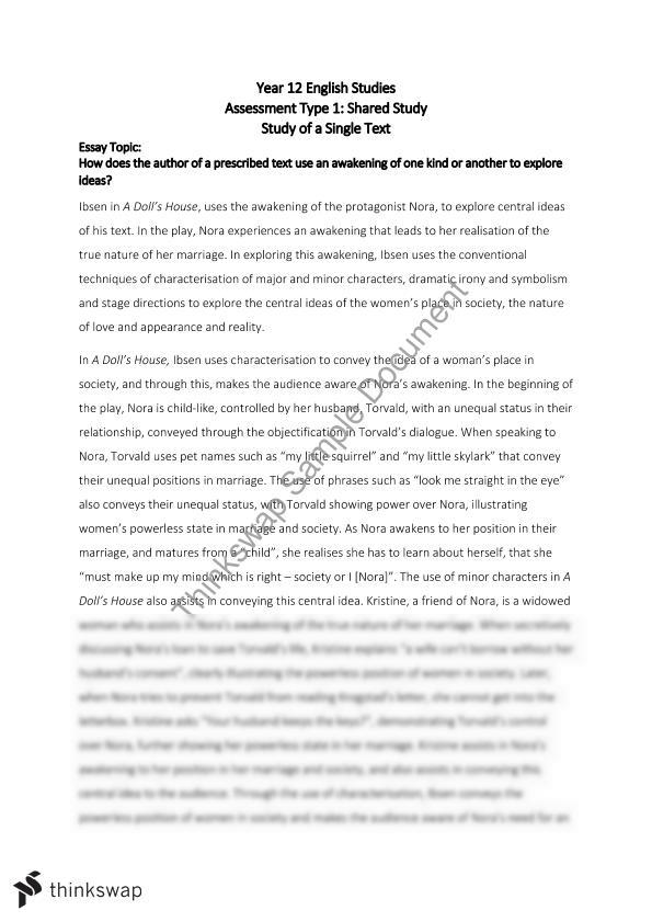 single text essay a doll s house year sace english  single text essay a doll s house