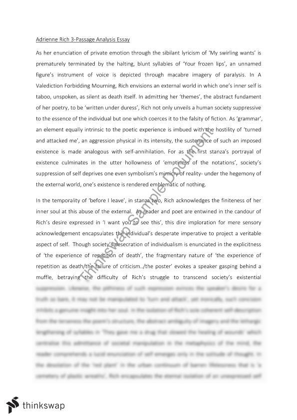 Write critical analysis essay poem