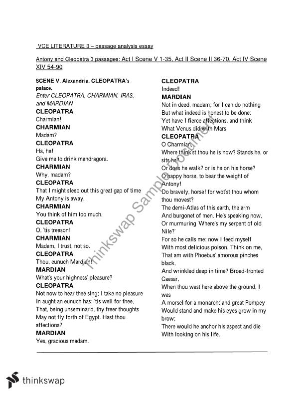 antony and cleopatra exam style  passage analysis essay  year   antony and cleopatra exam style  passage analysis essay