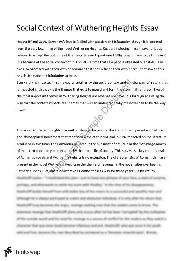 wuthering heights literary essay Wuthering heights, emily brontë's only novel, was published in 1847 under the pseudonym ellis bell it was written between october 1845 and june 1846 [1] wuthering heights and anne brontë 's agnes grey were accepted by publisher thomas newby before the success of their sister charlotte's novel jane eyre.