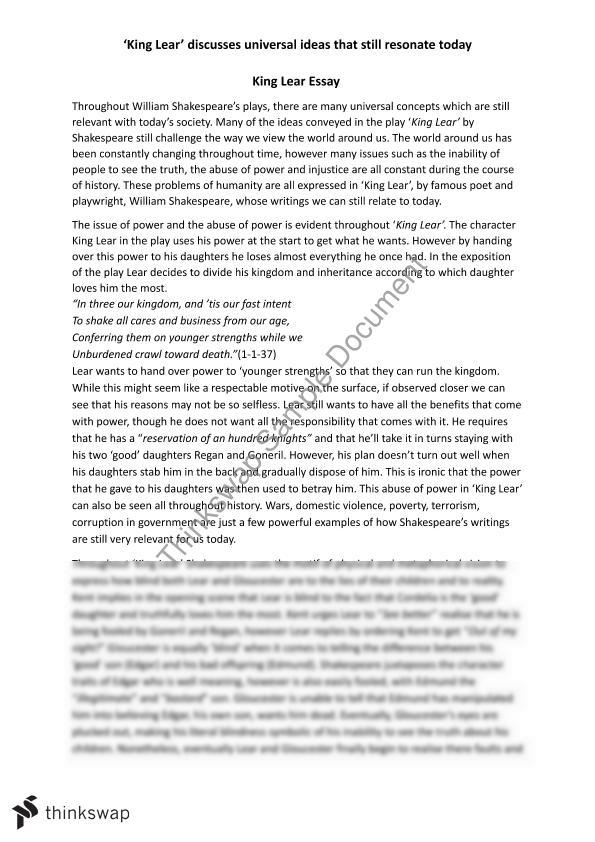 king lear essay ideas