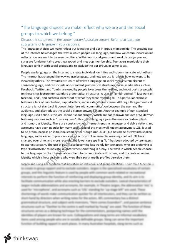 language and identity essay  year  vce  english language  thinkswap language and identity essay