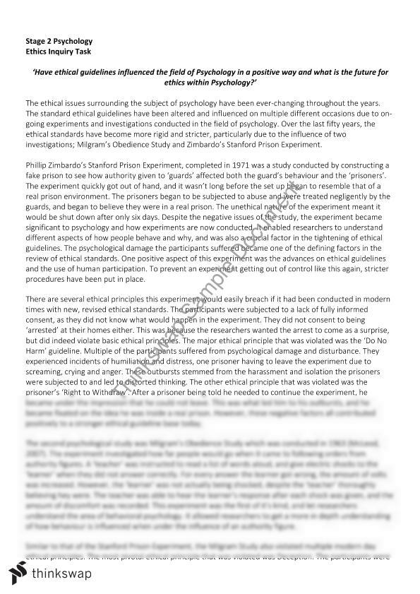 "critique of psychological experiments and subjects essay Comparative critique in a comparative critique similarities and differences are given between two articles as well as the readers own opinion of the authors' work in stanley milgram's ""the perils of obedience"", certain experiments were conducted on separate types of individuals."