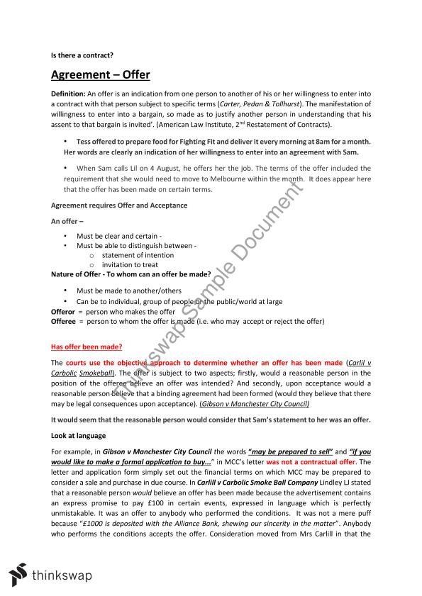 Principles of contract law notes law5002 principles of contract principles of contract law notes stopboris Images