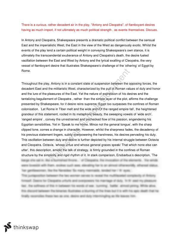 antony and cleopatra views and values essay  year  vce   english  antony and cleopatra views and values essay