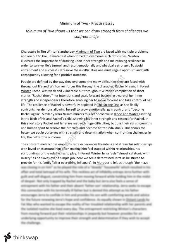 Minimum of two essays