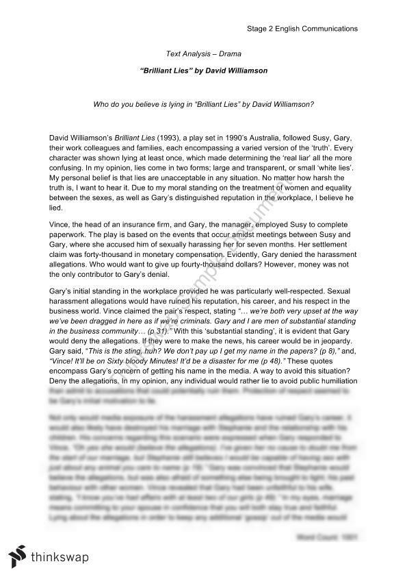 brilliant lies david williamson essay