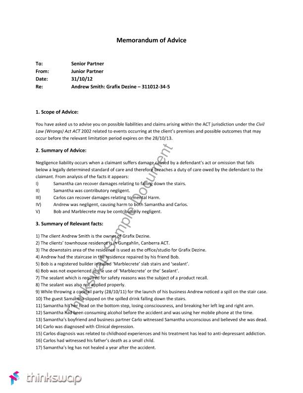 sample memorandum of law