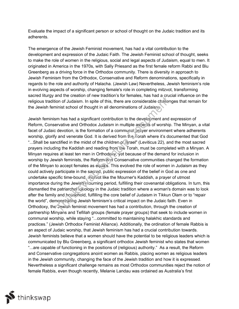 jewish feminism essay studies of religion year hsc  jewish feminism essay studies of religion