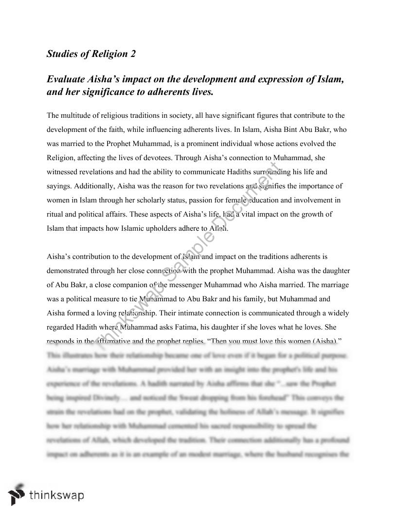 essay on aisha islam studies of religion year 12 hsc essay on aisha islam studies of religion