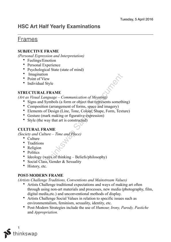 Visual Arts Summary Sheet   Year 12 HSC - Visual Arts   Thinkswap
