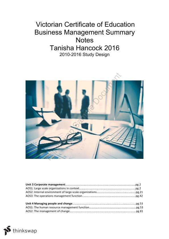 Vce Business Management Notes Unit 3 And 4 Year 12 Vce Business