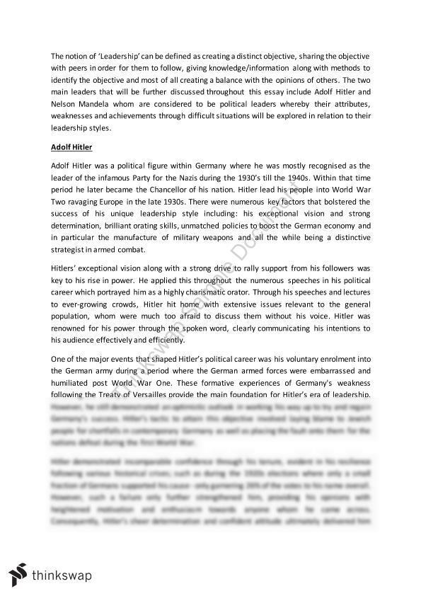 Leadership essay adolf hiter and nelson mandela fbe204