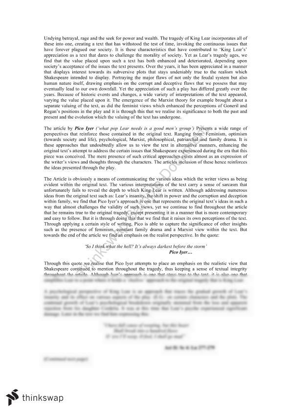 king lear s madness shakespeare essay example English essays: the theme of madness in king lear.