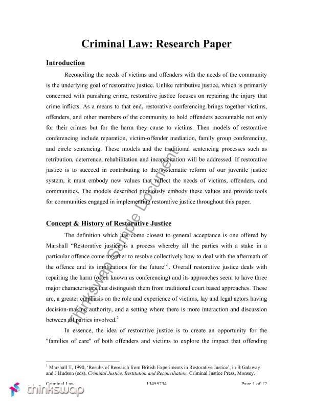 criminal justice research paper format