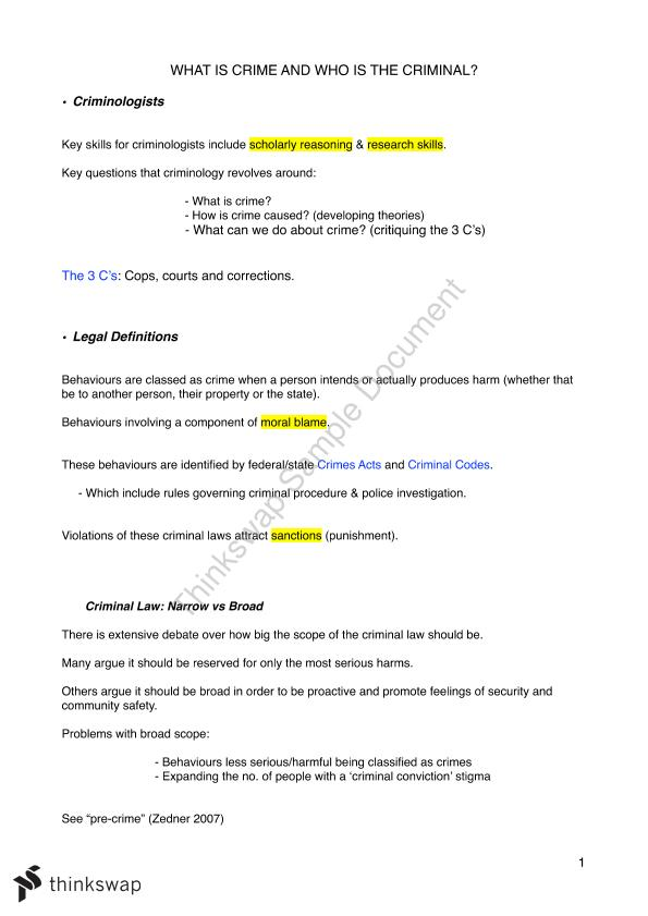 PICT103 (Intro to Criminology) Entire Course Notes