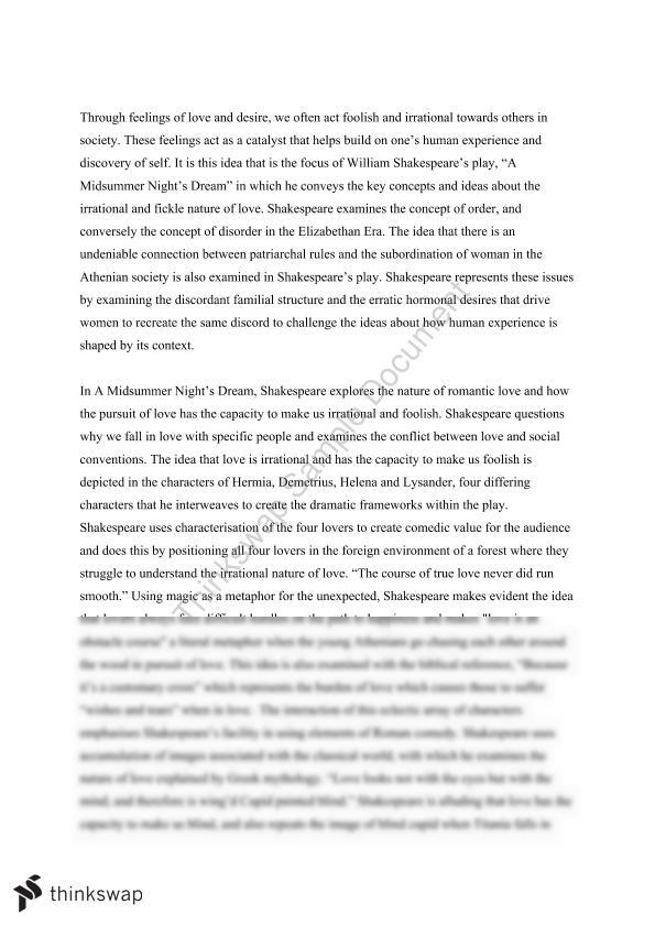 essay on a midsummer nights dream year hsc english  essay on a midsummer nights dream
