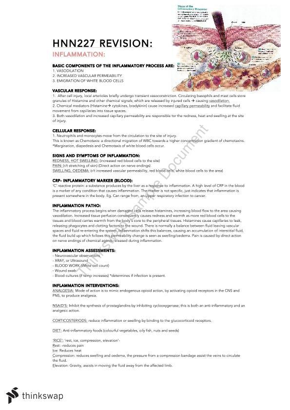 Nursing Physiology Notes | HNN227 - Quality & Safety Nursing