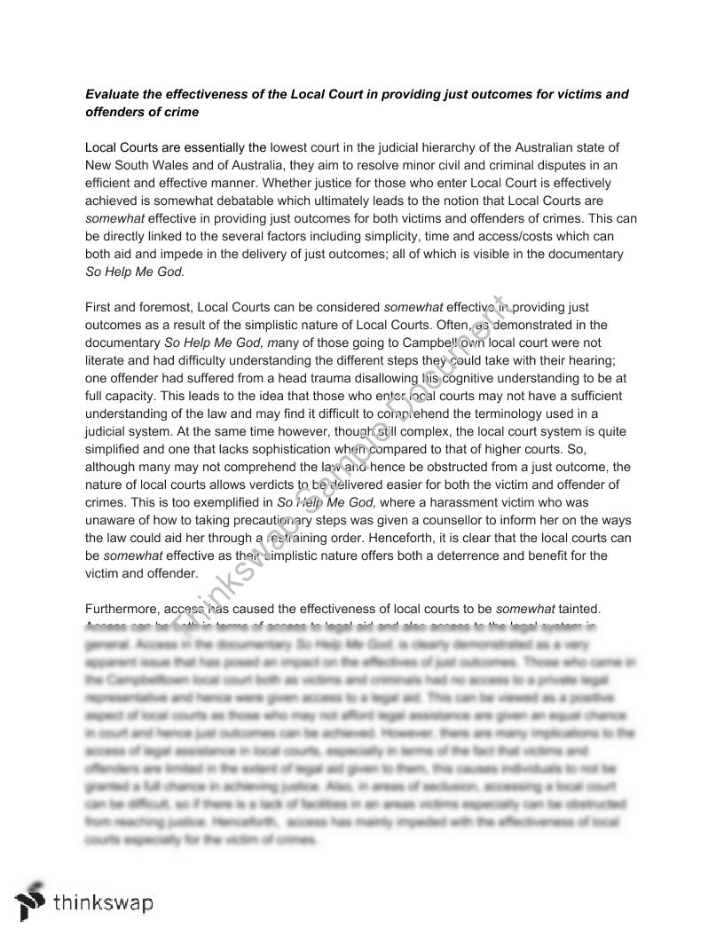 English Reflective Essay Example Local Court Essay Apa Style Essay Paper also Thesis Statement Generator For Compare And Contrast Essay Local Court Essay  Year  Hsc  Legal Studies  Thinkswap An Essay On Newspaper