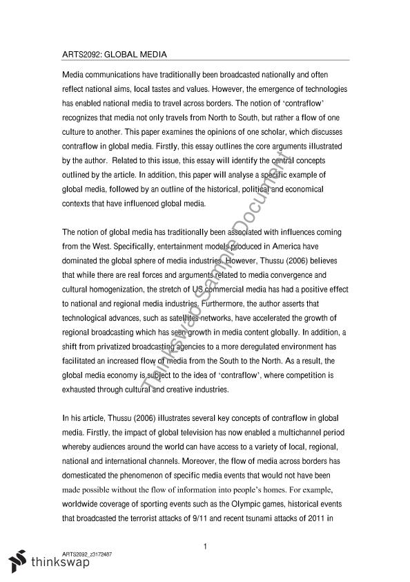 final essay arts global media markets flows and cultures  final essay