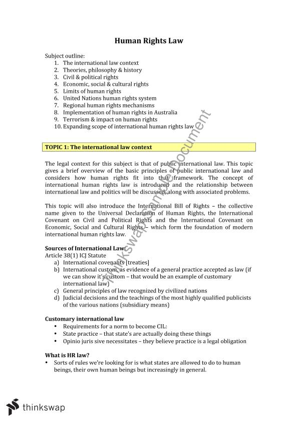 Human Rights Law Notes | LAW4155 - International Human