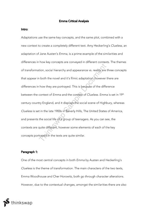 emma clueless essay example The value of wealth and status has been adapted from emma into clueless in order to sult the context and appeal to modern audiences wealth and status is ot high importance in emma, determining which social class an individual belongs to.