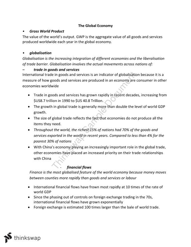 The Global Economy Syllabus Notes