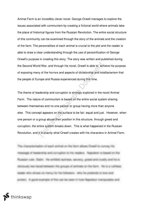 animal farm essay year hsc english standard thinkswap animal farm essay