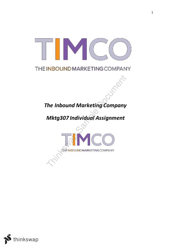 TIMCO Inbound Marketing Company Sales Management Assignment for MKTG307