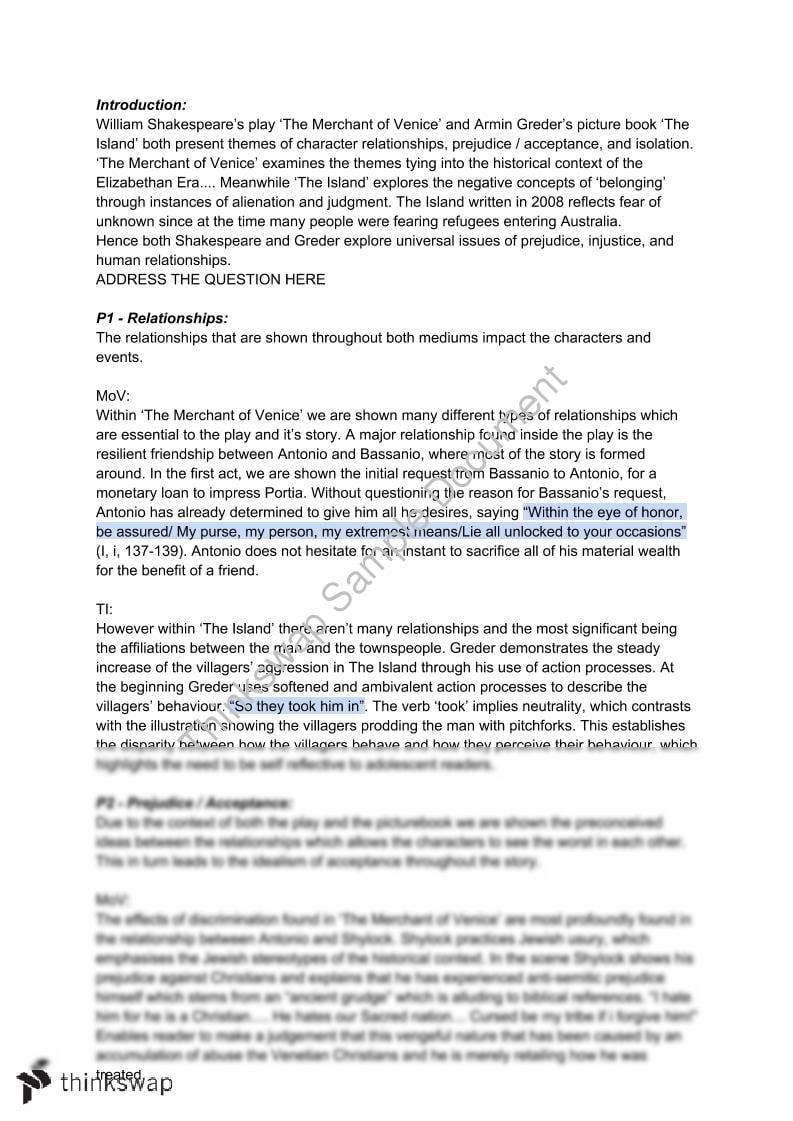 Essay on merchant of venice