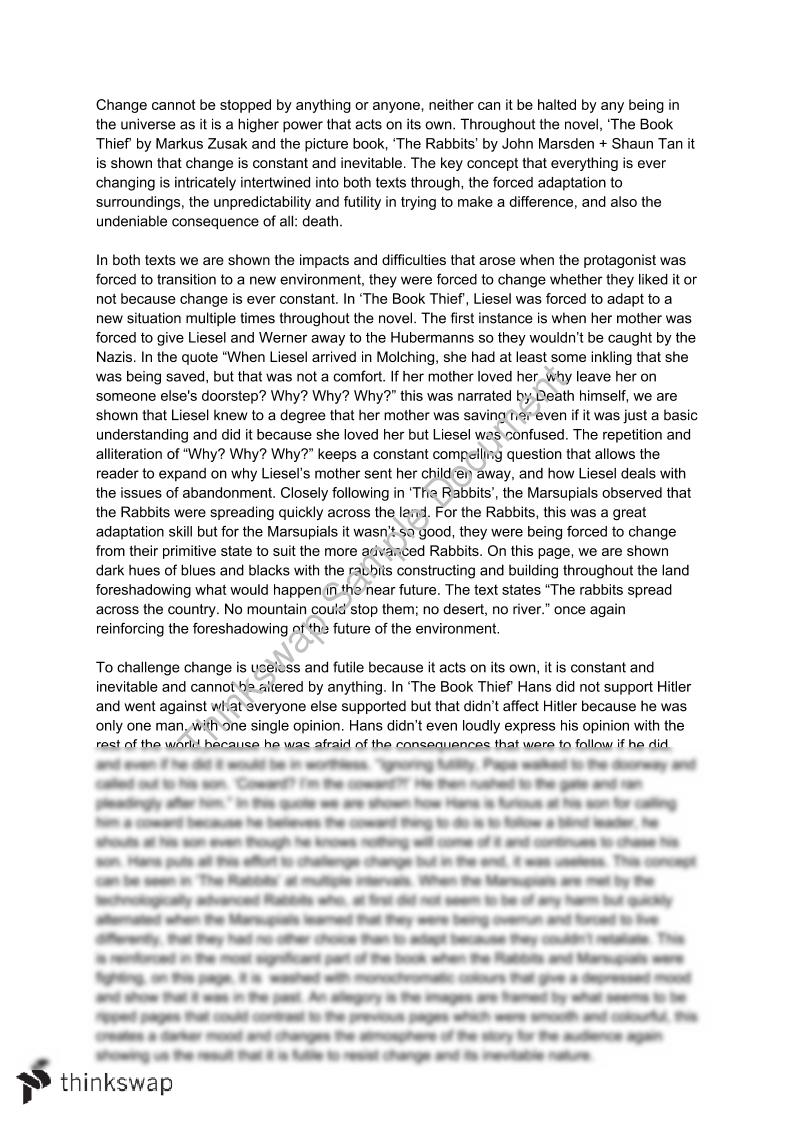 The Book Thief The Rabbits Essay English Advanced Year 11 Hsc Thinkswap