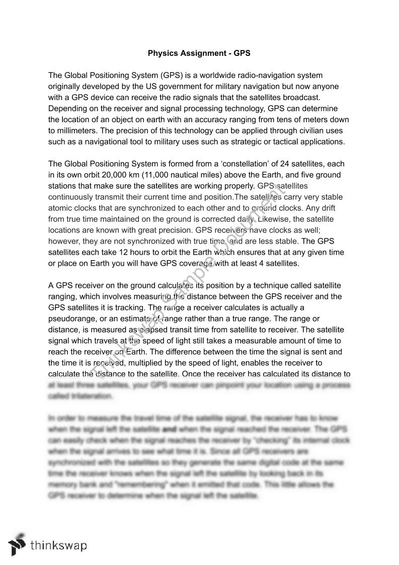 gps physics essay year 11 hsc physics  gps physics essay