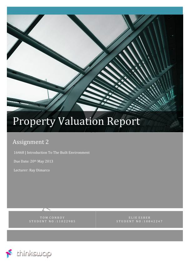 Assignment   Valuation Report    Introduction To The Built