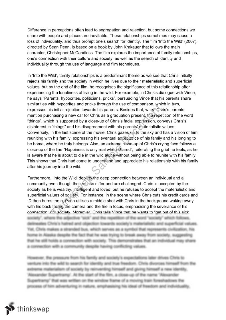 Belonging Related Text Essay - 'Into the Wild' | Year 11 HSC ...